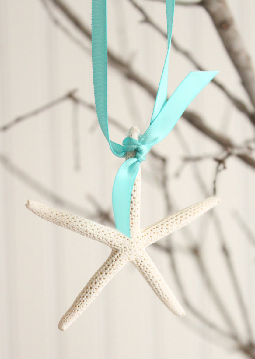 Starfish Ribbon Ornaments- Set of Four