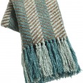 Teal Knit Chevron Throw