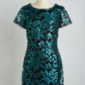 Teal Sequin Shift Dress