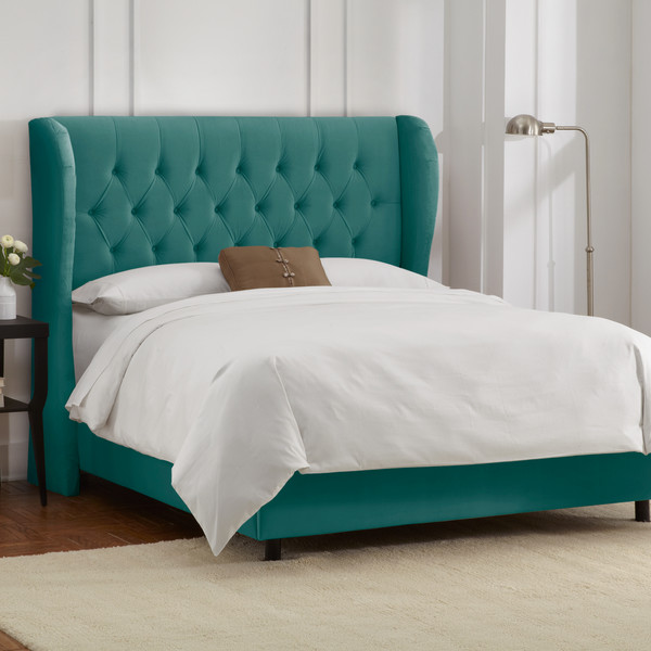 Tufted Regal Diamond Upholstered Wingback Panel Bed