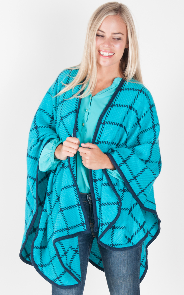 Turquoise Check Shawl