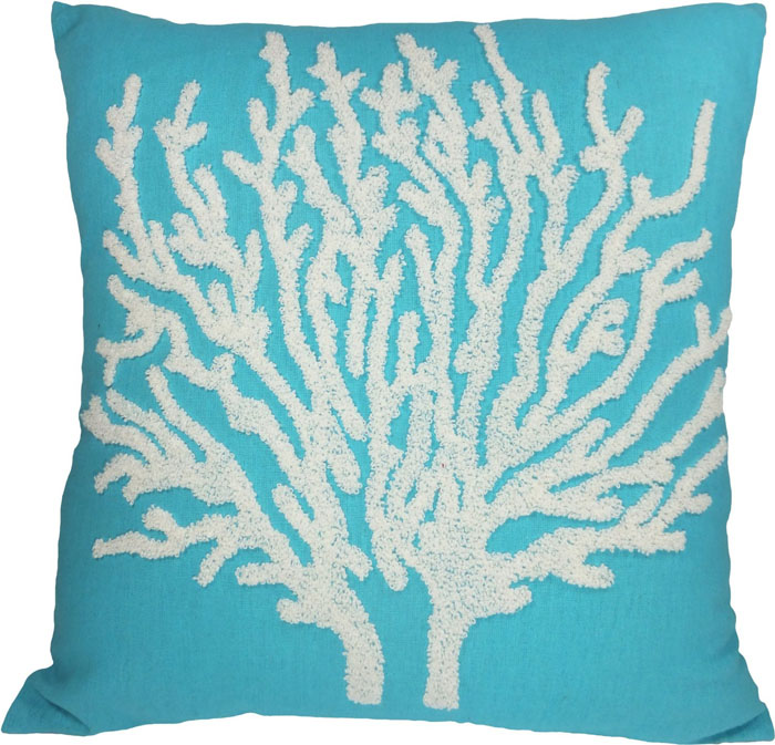 Turquoise Flora Coral Embroidery Throw Pillow Cover