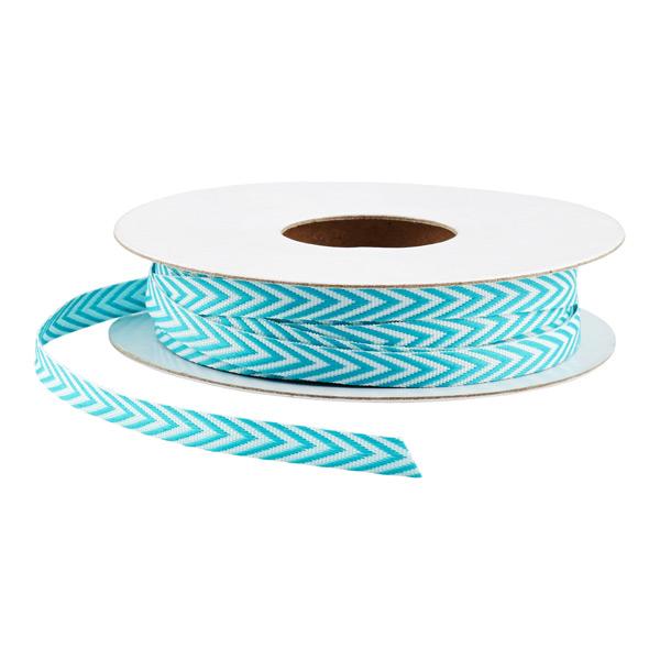 Turquoise & White Chevron Ribbon