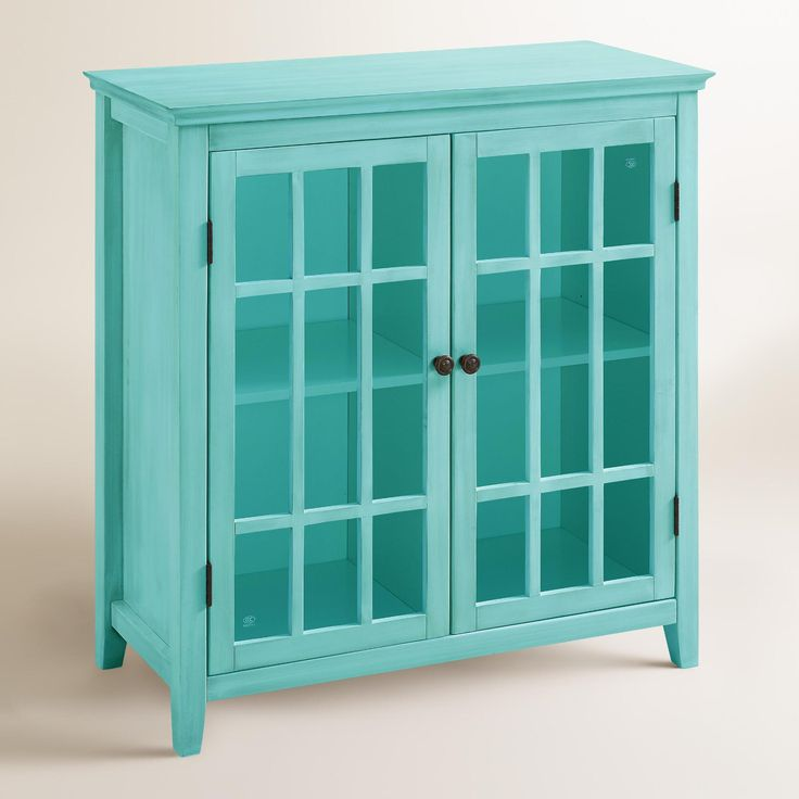 Double Door Cabinet Storage: Antique Turquoise Double Door Storage Cabinet