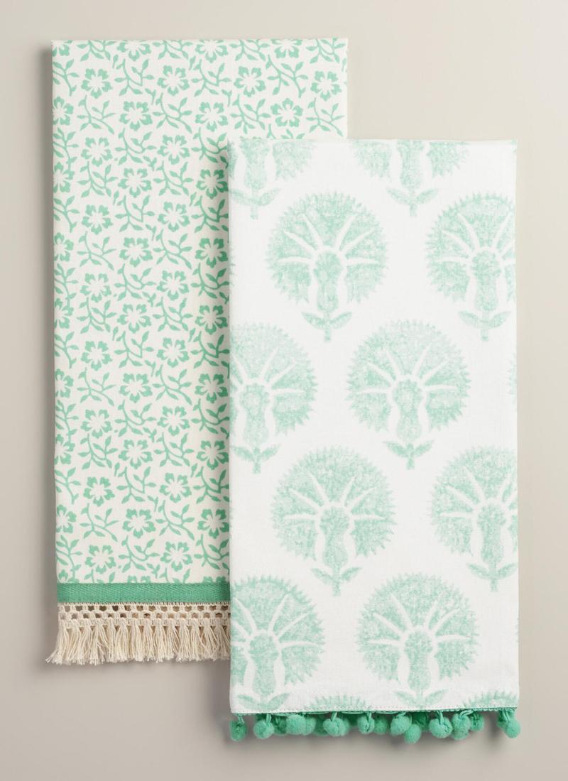 Aqua Mixed Print Kitchen Towels Set