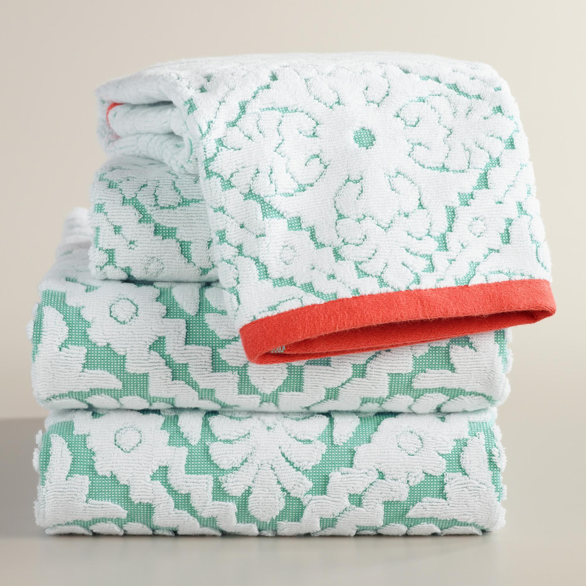 Aqua and Coral Barcelona Tile Sculpted Towel Collection