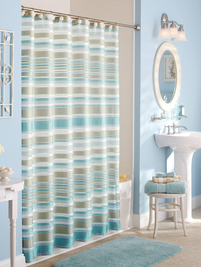 Yellow stripe shower curtain - Blue And Green Fabric Shower Curtain Aqua And Brown Shower Curtain Classic Stripe Fabric Shower