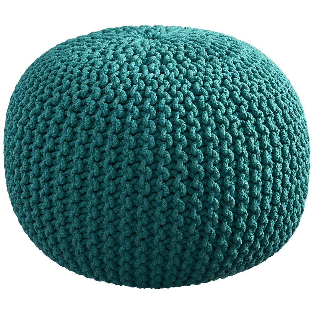 Knitted teal pouf everything turquoise - Knitted pouf ottoman pattern ...