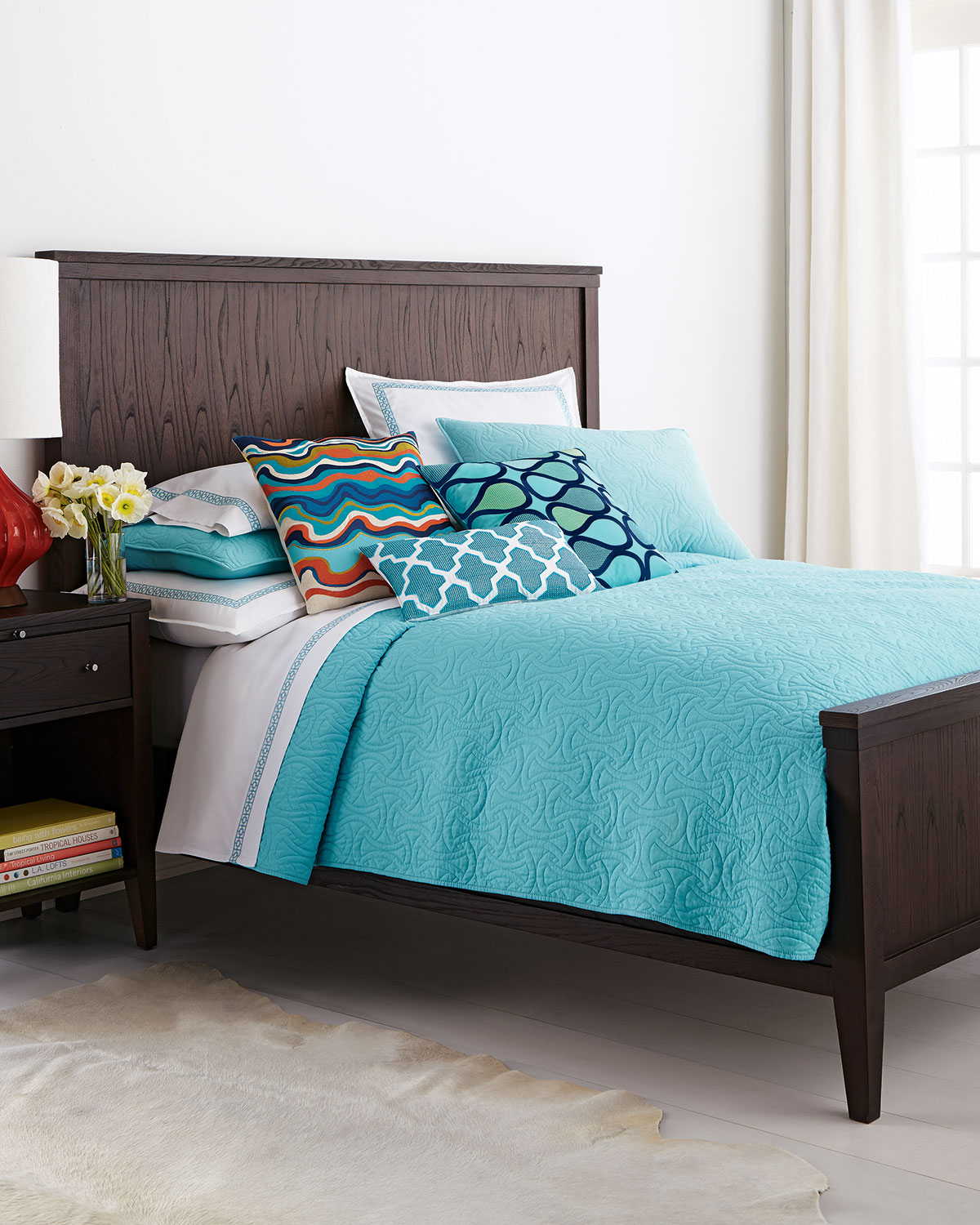 Turquoise ocean with the trina turk turquoise santorini bedding