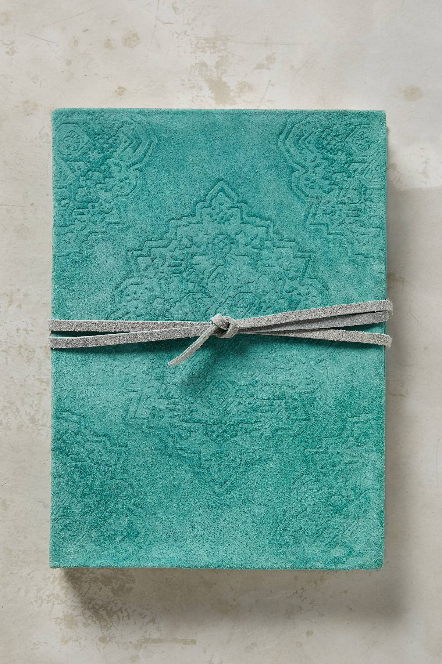 Turquoise Embossed Suede Journal