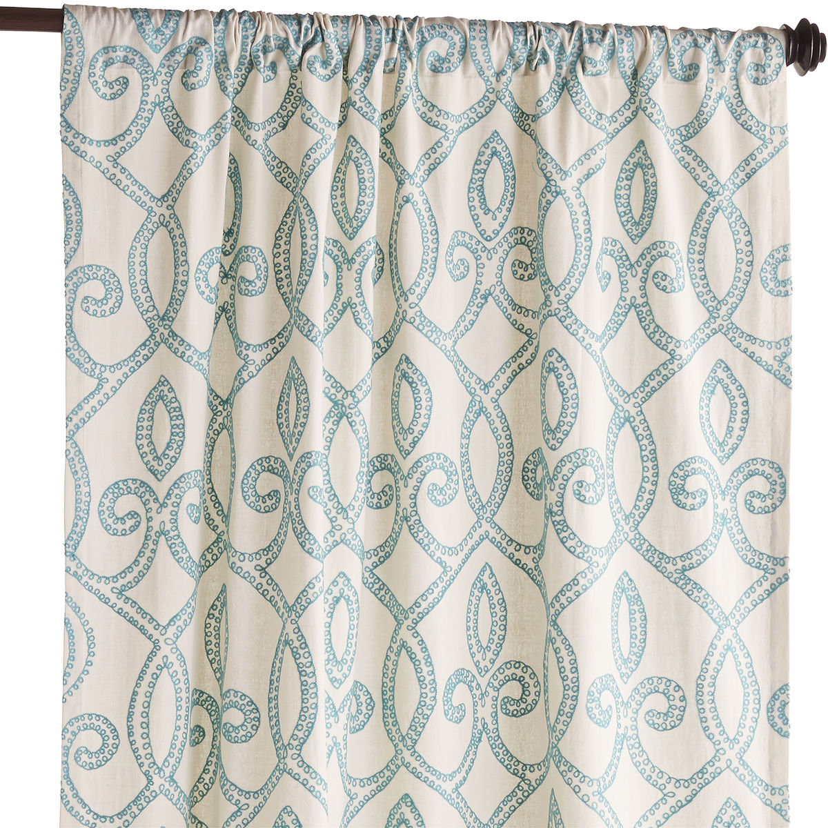 Turquoise Trellis Embroidered Curtain