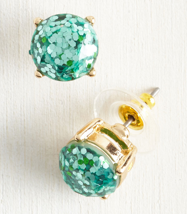 Glitter and Glee Earrings in Aqua