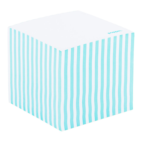 Poppin Aqua Striped Memo Cube