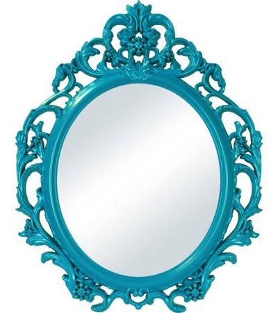 Teal Baroque Oval Wall Mirror