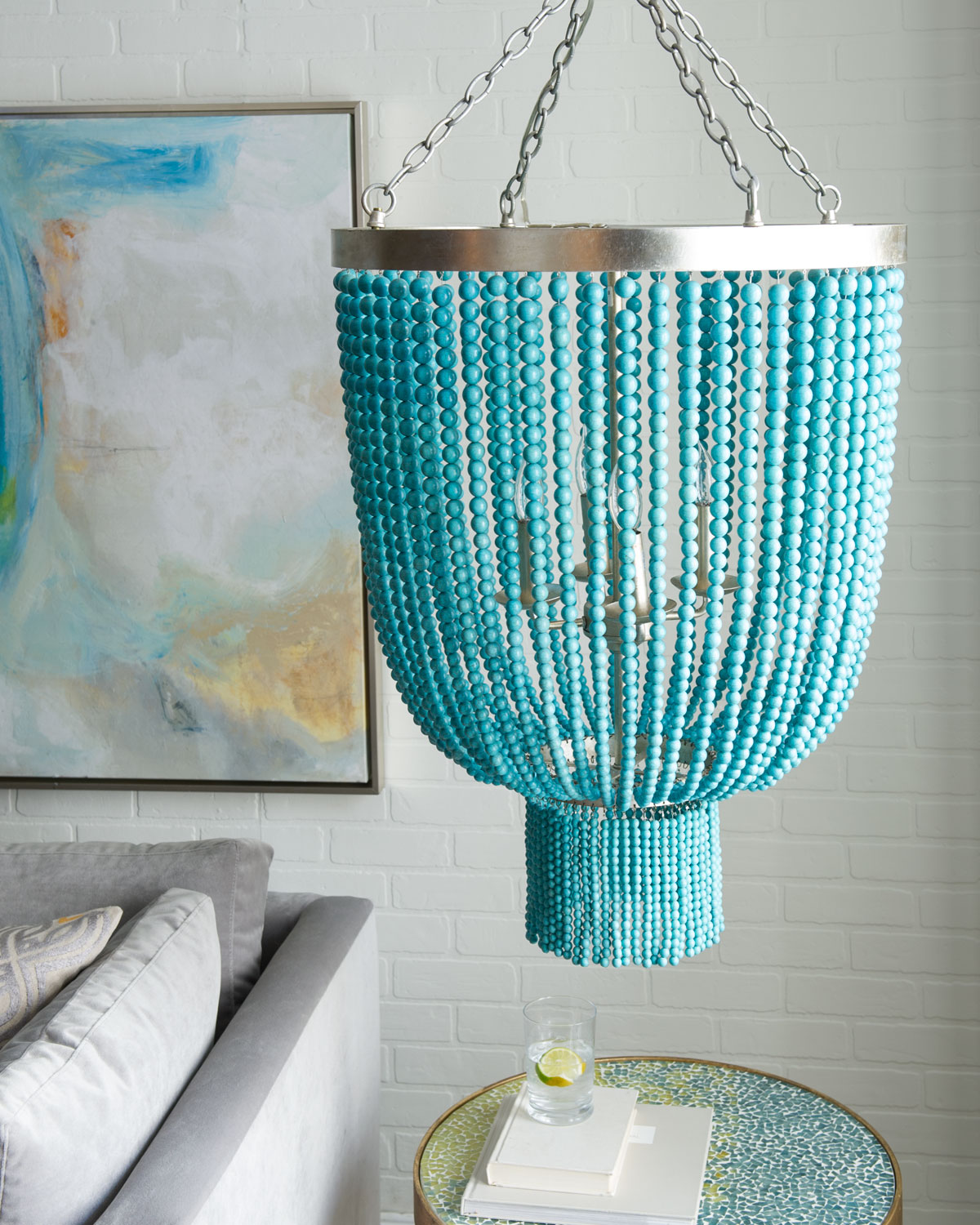 Turquoise bead 4 light chandelier everything turquoise for Salon turquoise