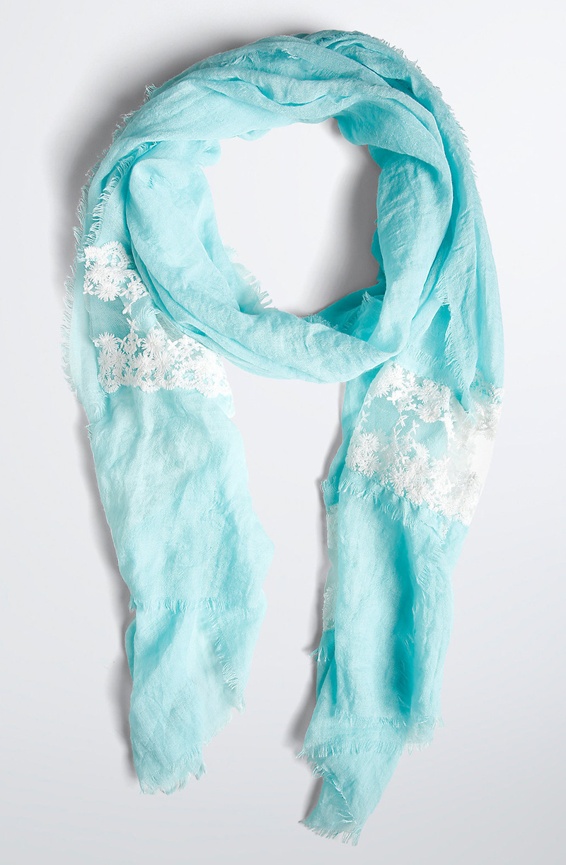 Turquoise Lace Infinity Scarf