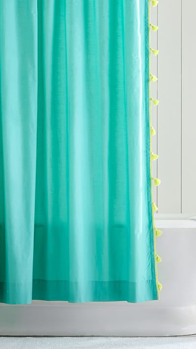 Color On Color Tassel Shower Curtain Everything Turquoise