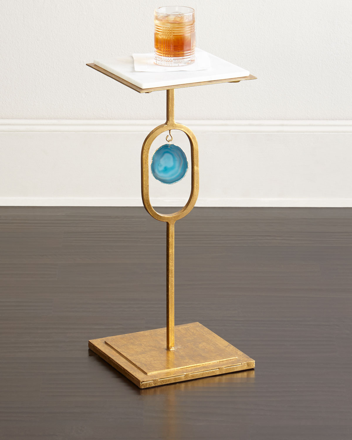 Welcoming White Kitchen Is Illuminated By Regina Andrew: Eve Teal Agate Side Table
