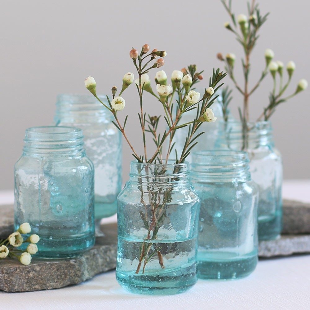Recycled Glass Mason Jar-Style Mini Vases