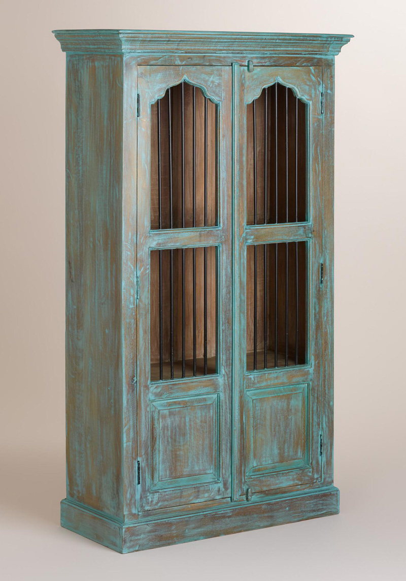 Teal Wood Cabinet With Metal Door Everything Turquoise