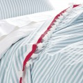 Aqua Candy Stripe Coverlet