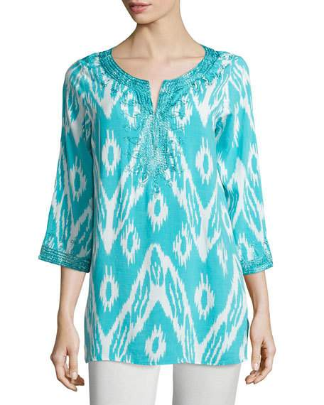 Embroidered Ikat-Print Tunic