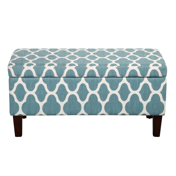 Large Teal Blue Decorative Storage Ottoman