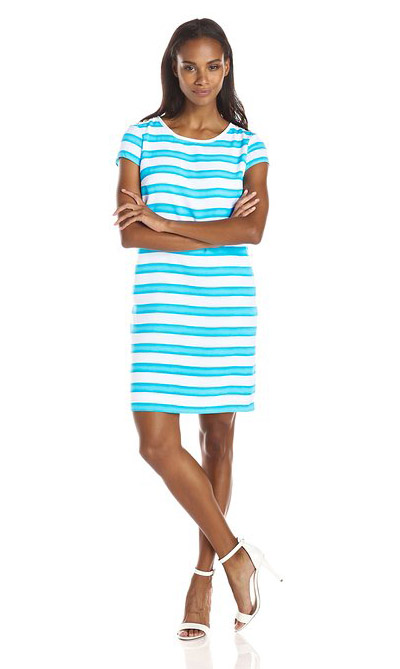Jones New York Turquoise Cap-Sleeve Shift Dress