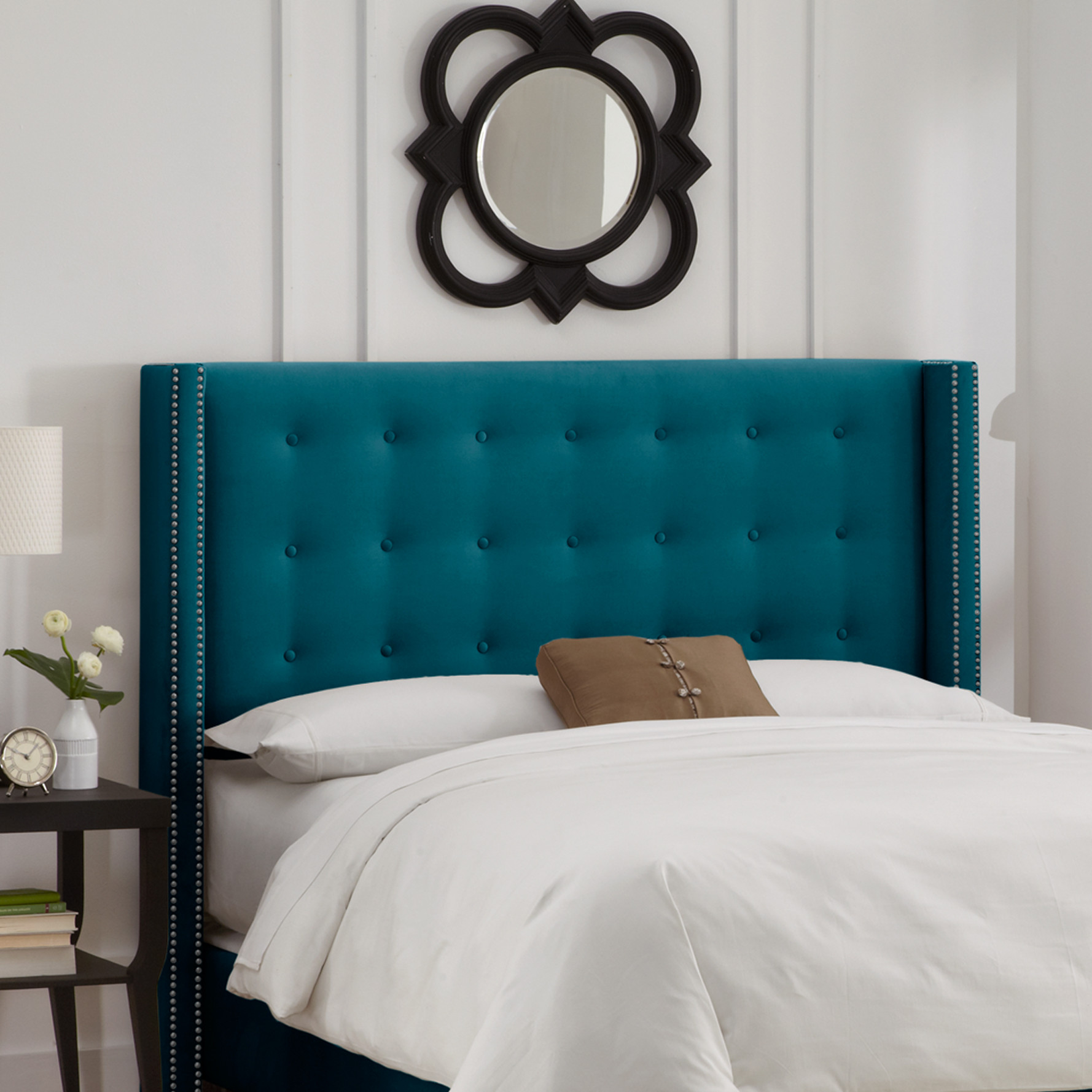 beds and headboards  everything turquoise - nail button tufted upholstered headboard