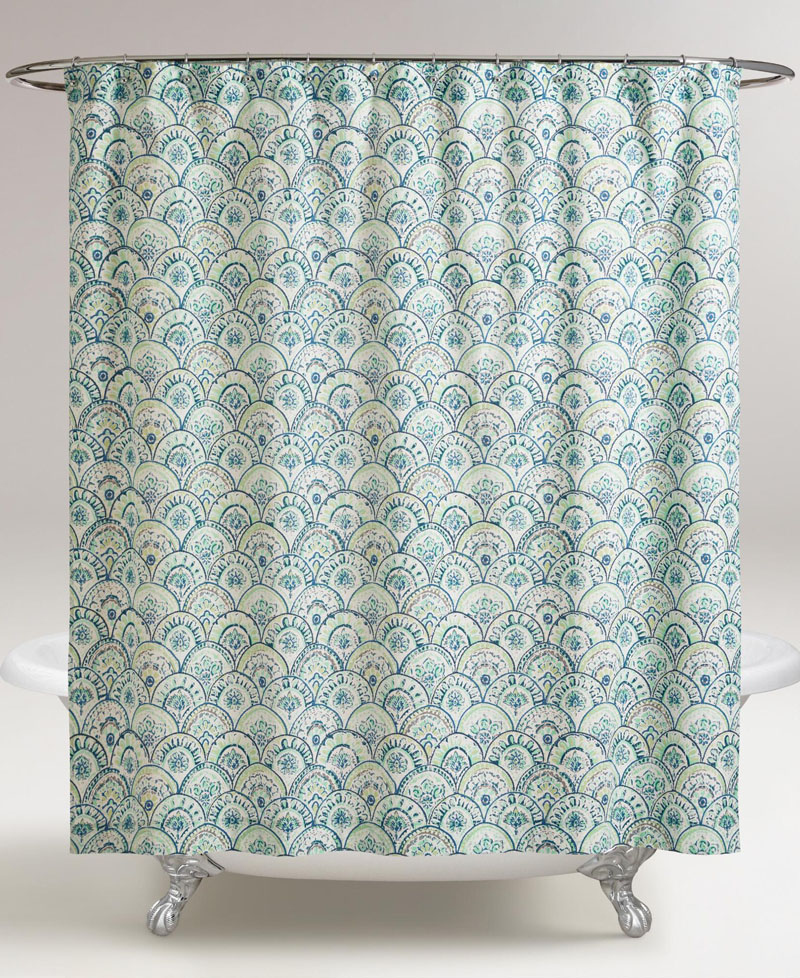 Olivia Blue Scalloped Shower Curtain Everything Turquoise