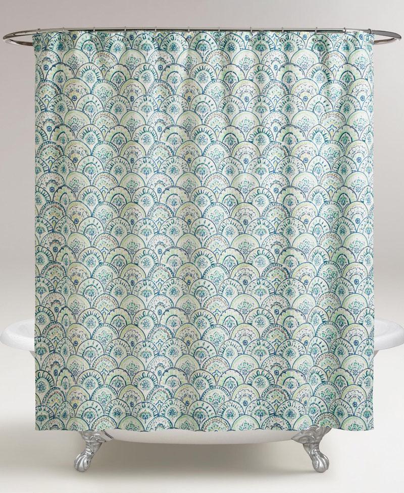 Olivia Blue Scalloped Shower Curtain