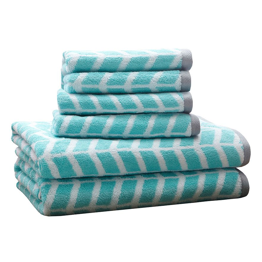 Teal 6 piece chevron jacquard towel set everything turquoise for Teal bath sets
