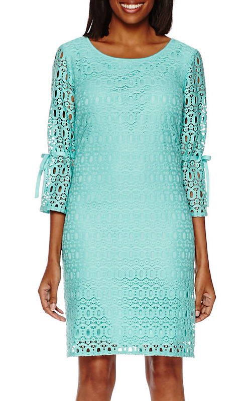 Turquoise 3/4-Bell-Sleeve Lace Shift Dress