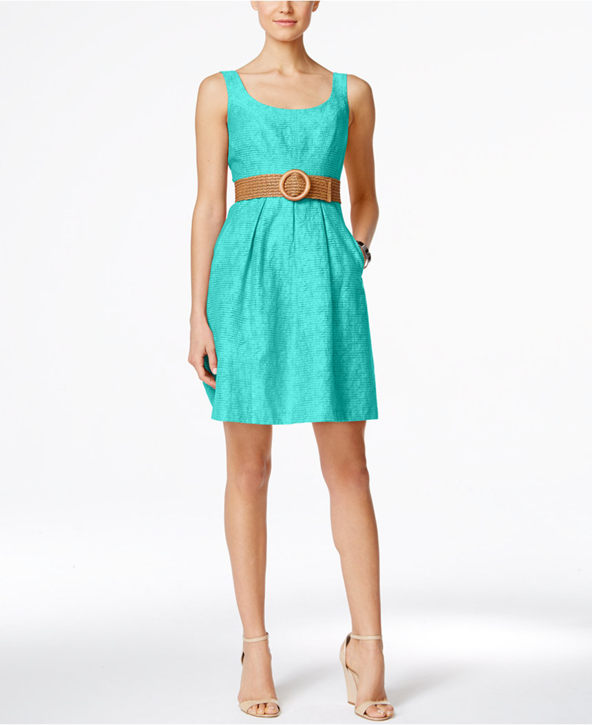 Turquoise Belted Burnout Fit & Flare Dress