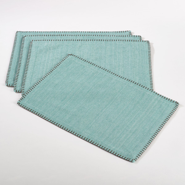 Aqua Celena Whip Stitched Design Placemat