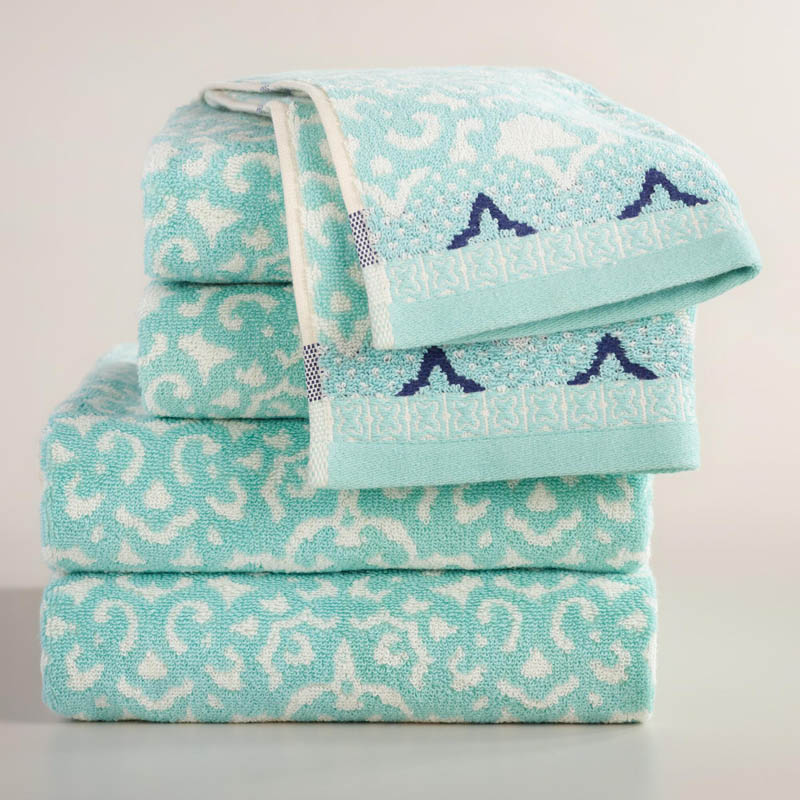Aqua Mist Aurora Jacquard Towel Collection
