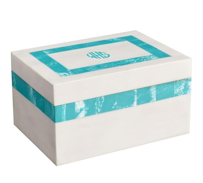 Aqua Preppy Border Box