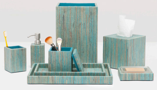 Bali aqua bath set collection everything turquoise for Aqua bathroom accessories sets