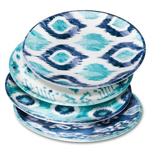 Blue Ikat Melamine Salad Plates