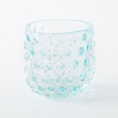 Ice Blue Tealight Hobnail Hurricane
