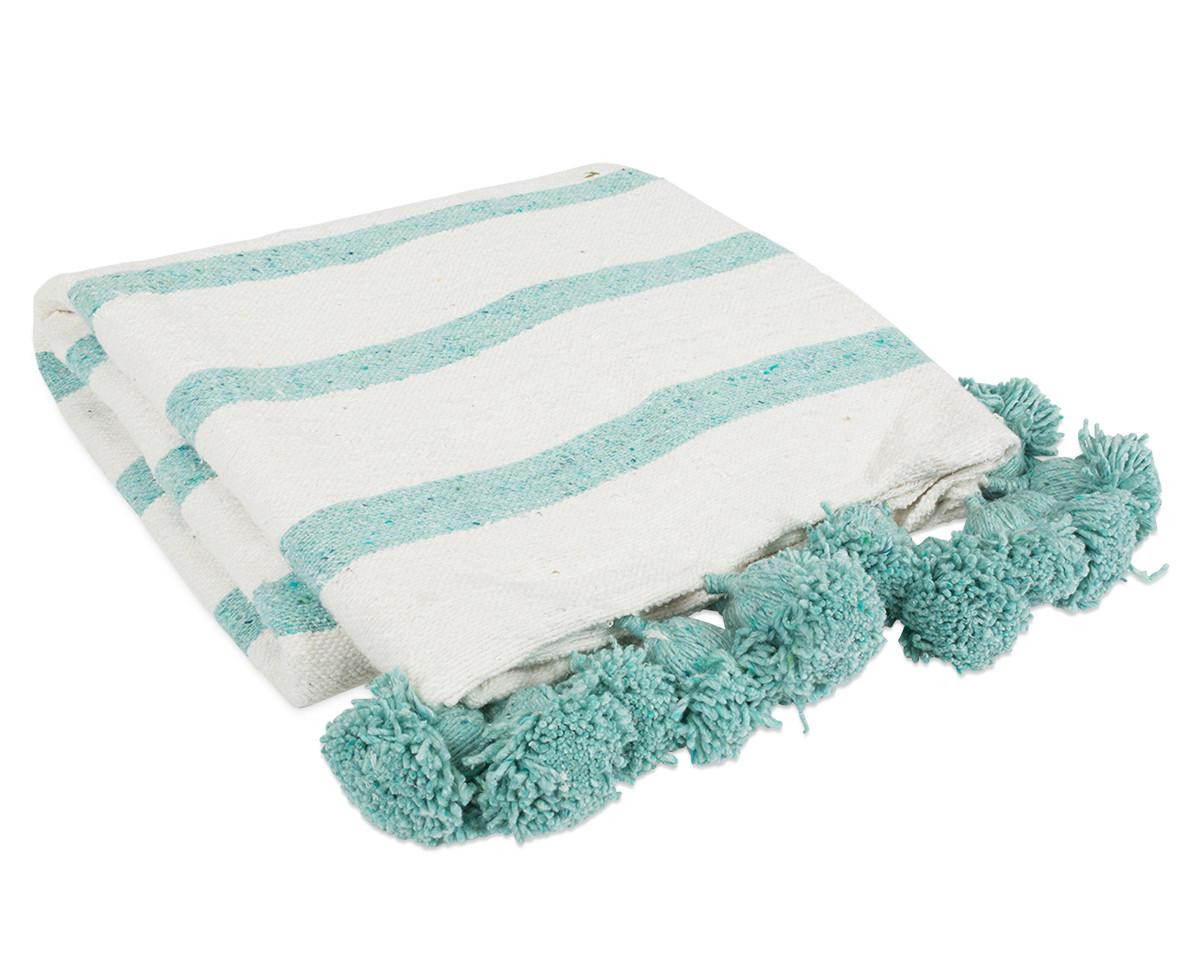 Seafoam Pom Pom Blanket