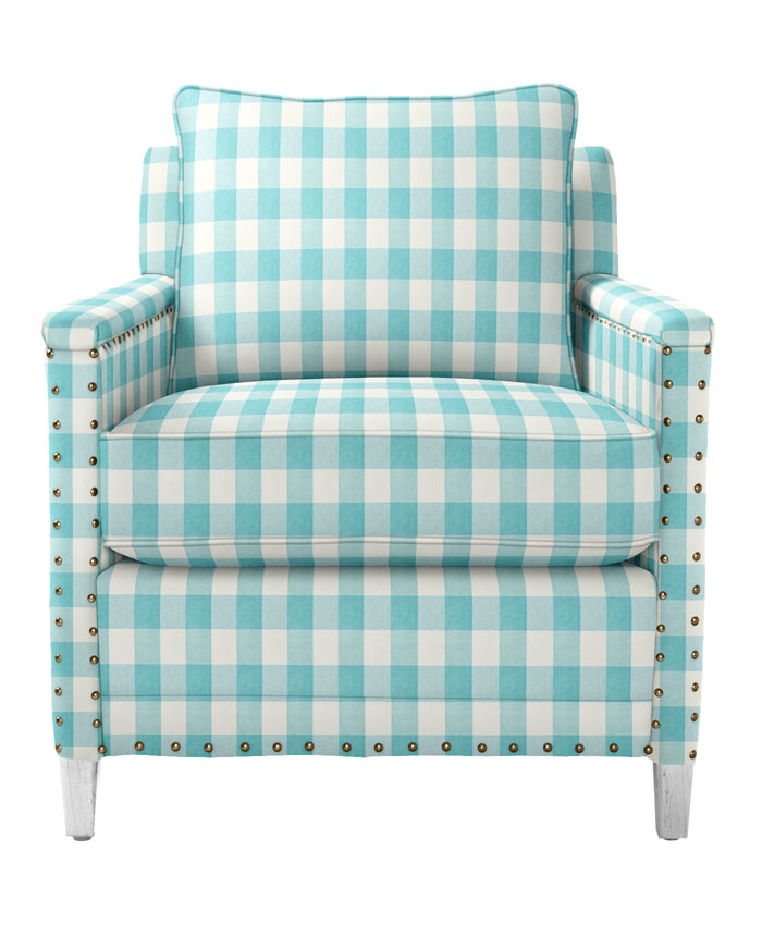 Spruce Street Chair with Nailheads in Turquoise Gingham