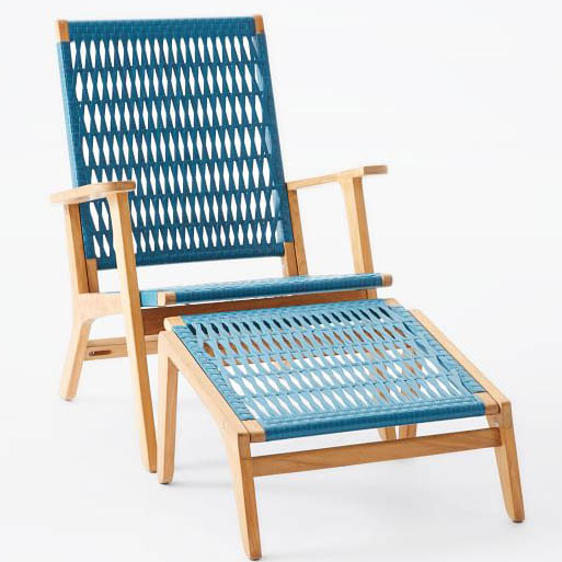 Teal Catskill Wood and Wicker Chair