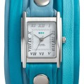 Teal Mixed Leather Wrap Watch