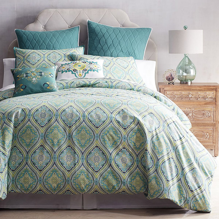 Simple  Turquoise Capri Tile Duvet Cover u Sham