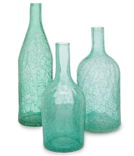 Turquoise Crackled Glass Vase