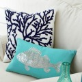 Turquoise Fish Embroidered Pillow
