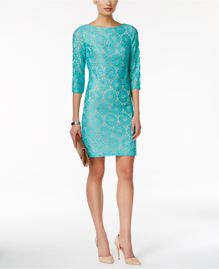 Turquoise Illusion-Sleeve Lace Sheath Dress