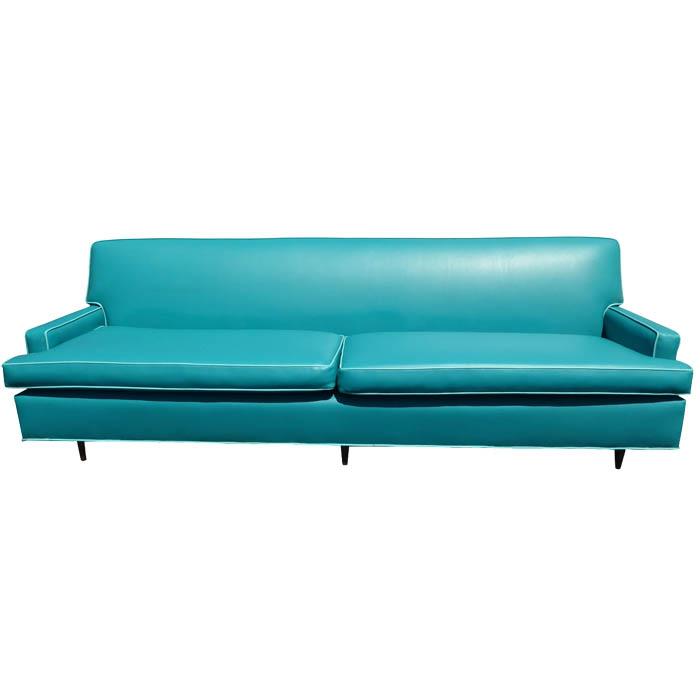 Mid-Century Turquoise Vinyl Sofa
