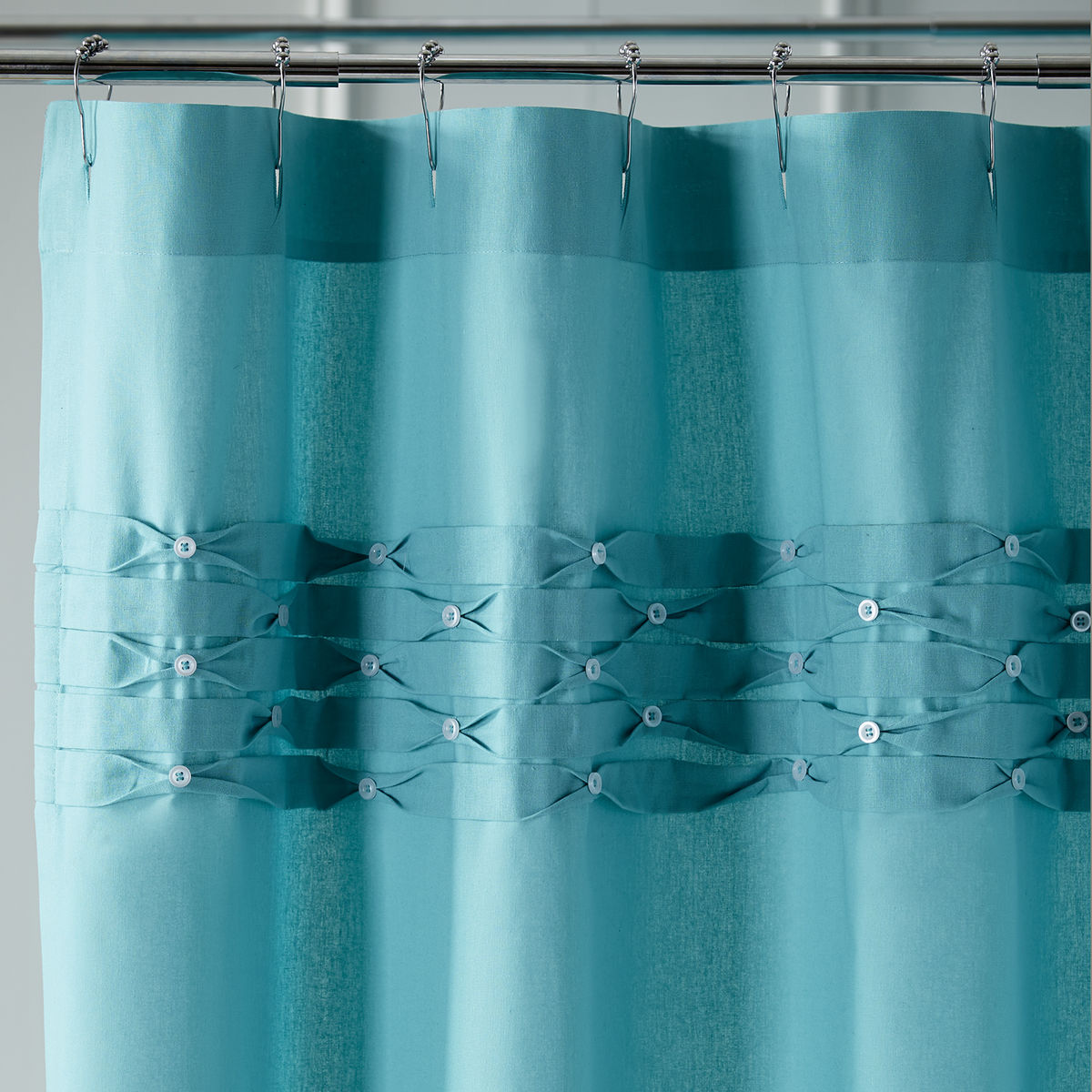Turquoise Pintuck Shower Curtain | Everything Turquoise